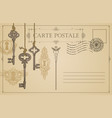 vintage postcard with old keys and keyholes vector image