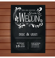 wedding invitation on blackboard background vector image vector image