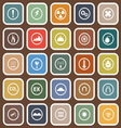 Warning flat icons on brown background vector image