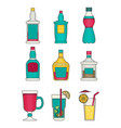 alcohol flat icons set vector image