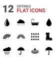 12 rain icons vector image vector image