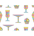 alcohol drink and ice cream seamless pattern vector image