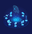 artificial intelligence dark isometric vector image