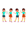 asian teen girl poses set activity vector image vector image