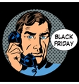 Black Friday support by phone vector image vector image
