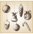 Brown vintage sketch - Christmas hand drawn vector image vector image