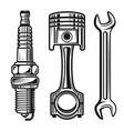 car or motorcycle repair parts objects vector image