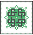 Celtic knot in black green cross stitch pattern vector image vector image