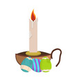 church candle icon easter label on white vector image