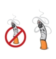 Closeup cigarette for sign of prohibition vector image vector image