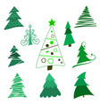 collection christmas trees modern flat design vector image vector image