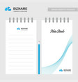company logo design notebok with blue theme with vector image