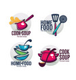 cook soup and home food collection bowl full vector image vector image