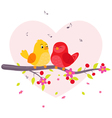 Couple birds sitting on branch vector image vector image