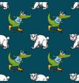 crocodile on skateboard and white bear seamless vector image