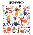 cute big set with halloween and icons pumpkin vector image vector image