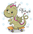 cute dragon with skateboard on a white background vector image
