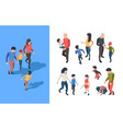 family walking parents playing with kids happy vector image vector image