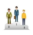 Flat male characters on white podium vector image vector image