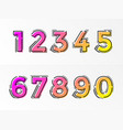 font numbers set numeral letters gradient color vector image