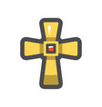 golden cross christianity symbol icon vector image