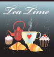 graphics with tea and croissants vector image