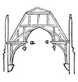 hammer-beam truss vintage engraving vector image vector image