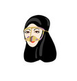 hand drawing icon muslim beautiful women vector image