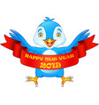 happy new year 2019 greeting card with blue bird c vector image vector image
