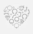 heart shape made of body jewelry and piercing thin vector image