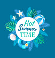hot summertime banner party placard ball vector image vector image