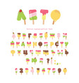ice cream cyrillic font popsicle cartoon letters vector image vector image
