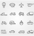 icons of different types transport with lines vector image vector image