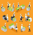 isometric people cooking set vector image vector image
