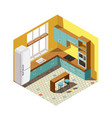 kitchen interior isometric composition vector image vector image