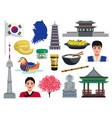 korea travel icon set vector image