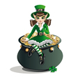Leprechaun girl and a pot of gold vector image