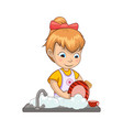 little girl washing dishes vector image