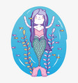 mermaid woman underwater with plants and fishes vector image vector image