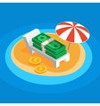 Money resting on the sunny beach vector image