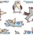 pattern funny cartoon crows vector image vector image