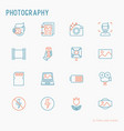 photography thin line icons set vector image vector image