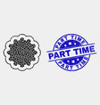 pixelated inner gear icon and scratched vector image vector image