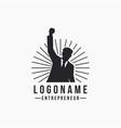 rising hand entrepreneur business man logo icon vector image