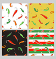 Seamless patterns with chili peppers vector image