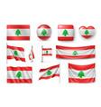 set lebanon flags banners banners symbols flat vector image vector image