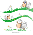 sheep cartoon set on meadow vector image vector image