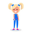 smiling blonde girl with two tails in blue suit vector image vector image