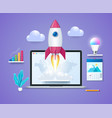 start up project in 3d style vector image