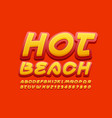 summer logo hot beach with bright font vector image